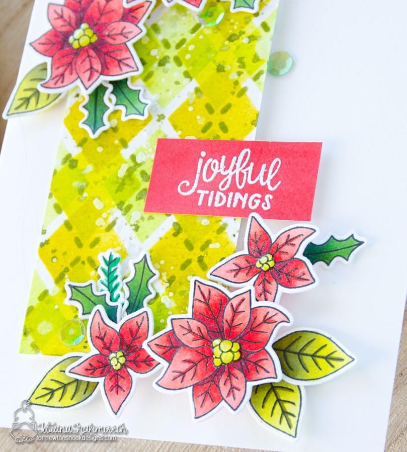 Joyful Tidings #handmade card by Tatiana Trafimovich #tatianacraftandart - Poinsettia Blooms stamp set by Newton's Nook Designs #newtonsnook