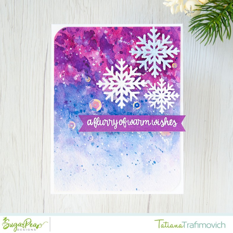 Flurry Of Warm Wishes #handmade card by Tatiana Trafimovich #tatianacraftandart - Snowflakes stamp set by SugarPea Designs #sugarpeadesigns