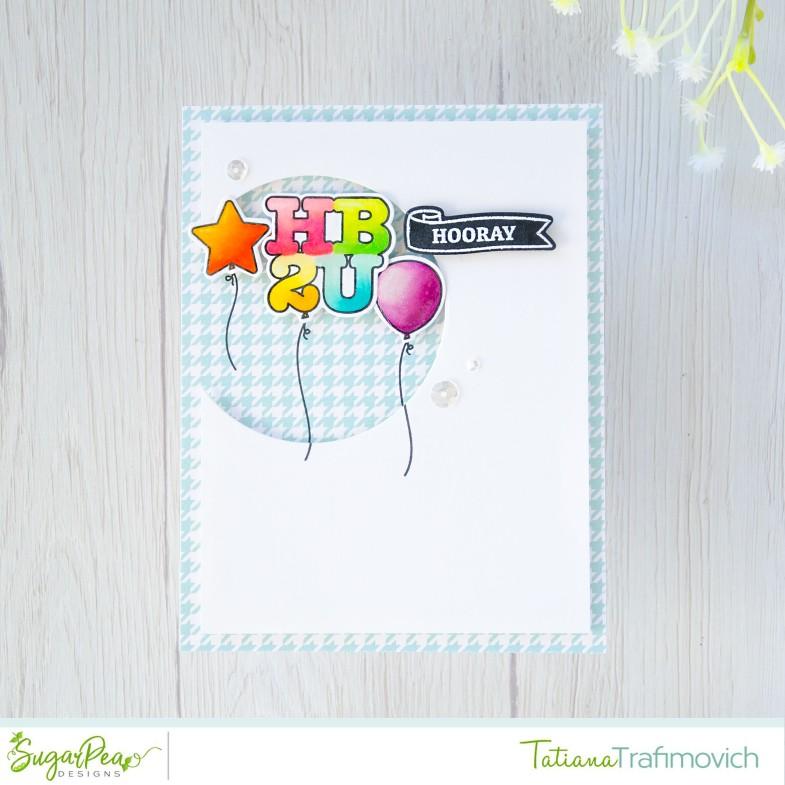 HB2U #handmade card by Tatiana Trafimovich #tatianacraftandart - Balloon Numbers stamp set by SugarPea Designs #sugarpeadesigns