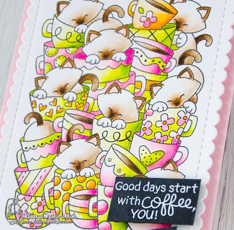 Good Days Starts #handmade card by Tatiana Trafimovich #tatianacraftandart - Caffeinated Cats stamp set by Newton's Nook Designs #newtonsnook