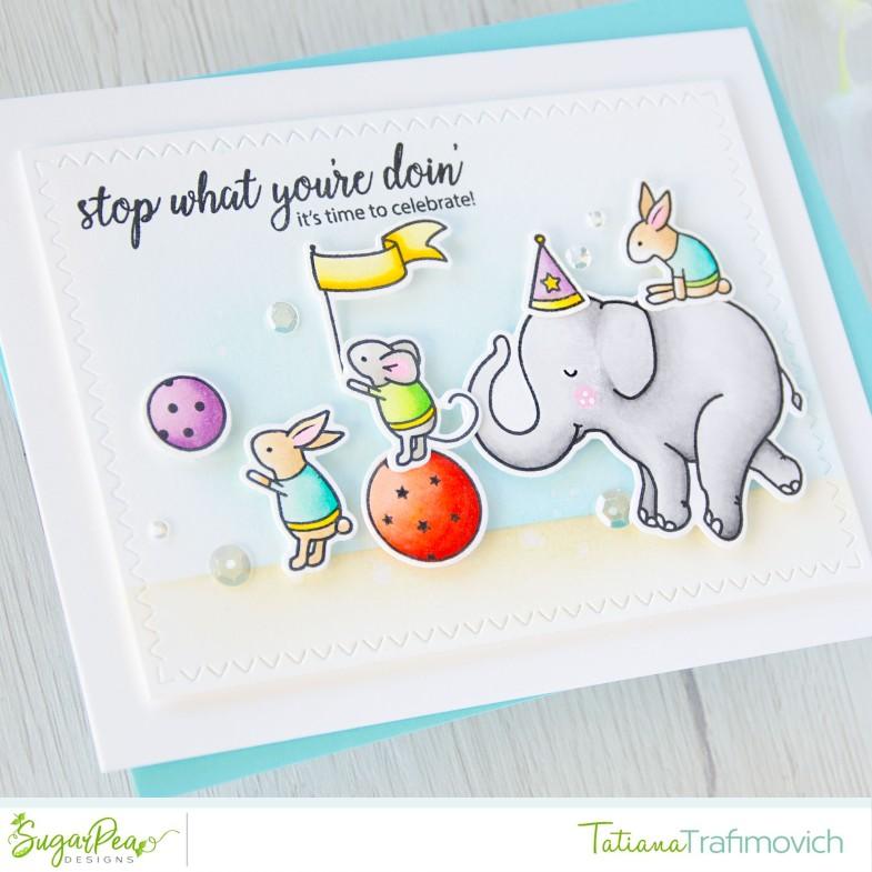 It's Time To Celebrate #handmade card by Tatiana Trafimovich #tatianacraftandart - Elephant Parade stamp set by SugarPea Designs #sugarpeadesigns