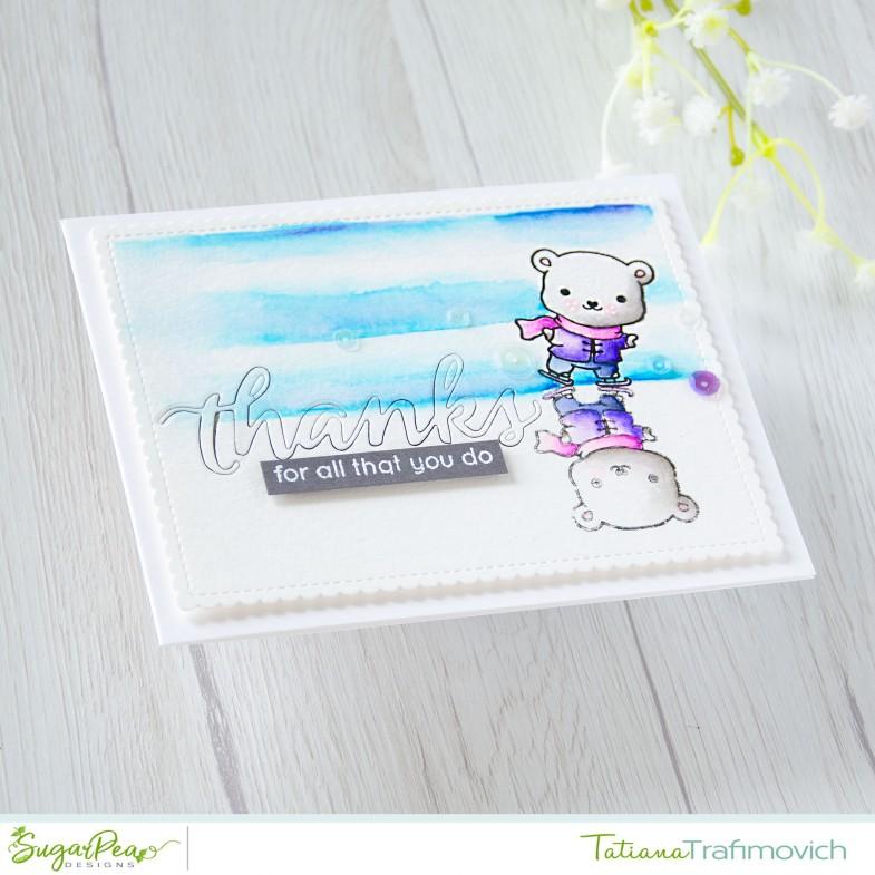 Thanks #handmade card by Tatiana Trafimovich #tatianacraftandart - Eskimo Kisses stamp set by SugarPea Designs #sugarpeadesigns