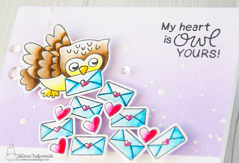My Heart Is OWL Yours #handmade card by Tatiana Trafimovich #tatianacraftandart - Love Owl-ways stamp set by Newton's Nook Designs #newtonsnook