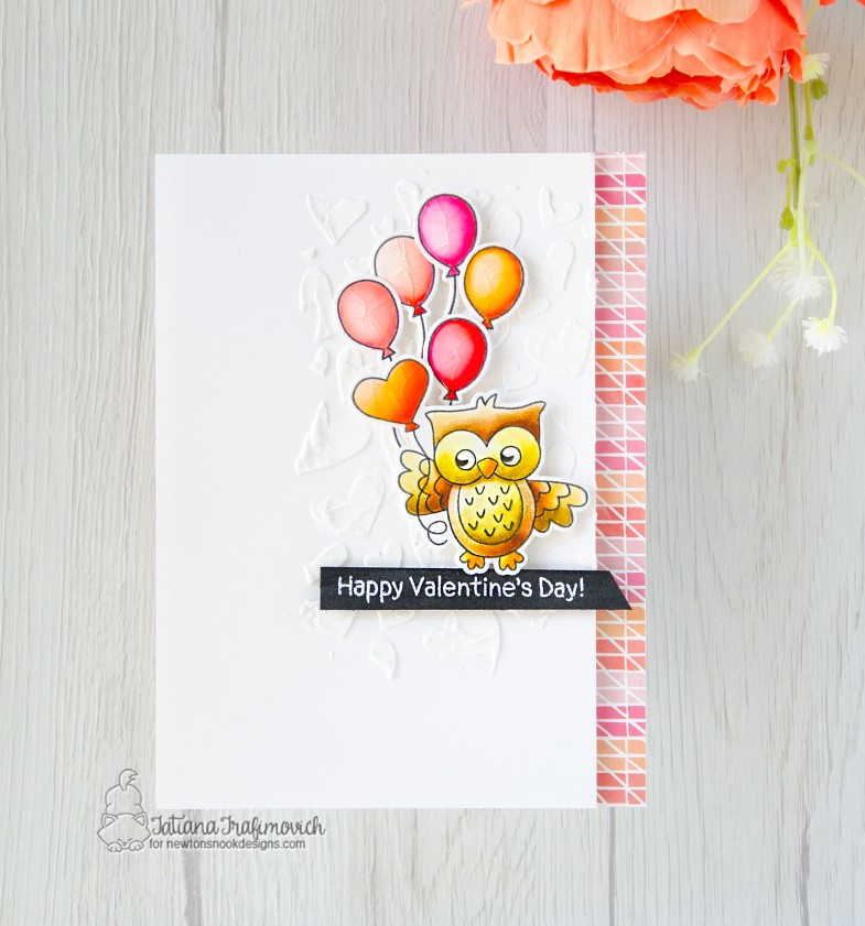 Happy Valentine's Day #handmade card by Tatiana Trafimovich #tatianacraftandart - Love Owl-ways stamp set by Newton's Nook Designs #newtonsnook