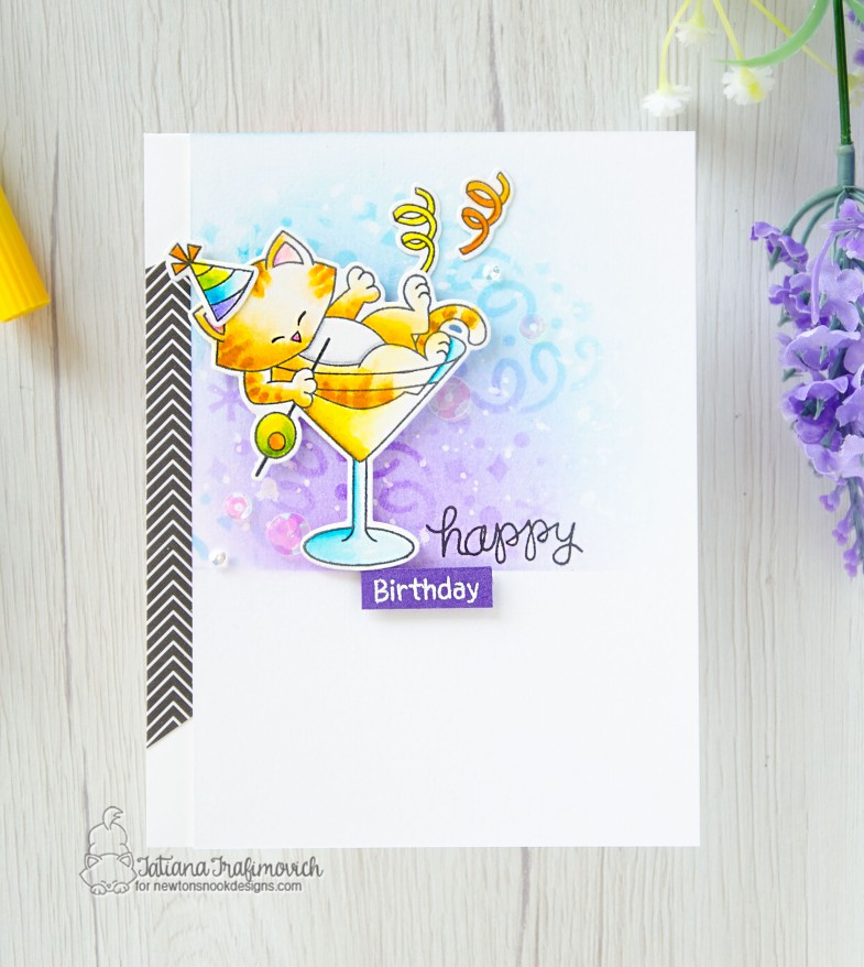 Happy Birthday #handmade card by Tatiana Trafimovich #tatianacraftandart - Newton Celebrates stamp set by Newton's Nook Designs #newtonsnook