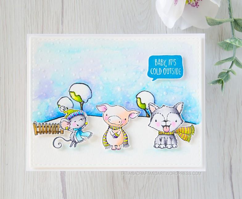 Baby, It's Cold Outside #handmade card by Tatiana Trafimovich #tatianacraftandart - stamps by Purple Onion Designs #purpleoniondesigns