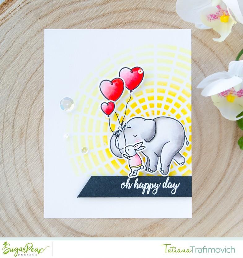 Oh Happy Day #handmade card by Tatiana Trafimovich #tatianacraftandart - Elephant Parade stamp set by SugarPea Designs #sugarpeadesigns