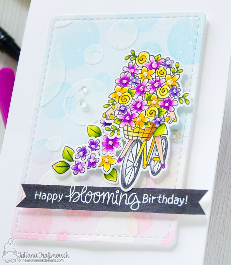 Happy Blooming Birthday #handmade card by Tatiana Trafimovich #tatianacraftandart - Loads of Blooms stamp set by Newton's Nook Designs #newtonsnook