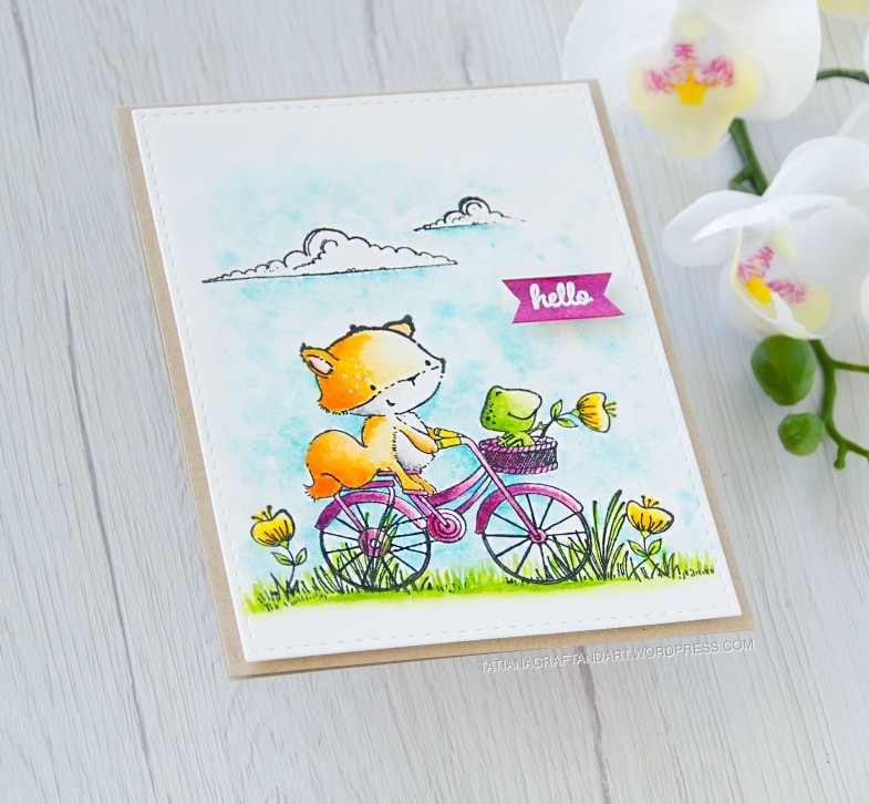 Hello #handmade card by Tatiana Trafimovich #tatianacraftandart - stamps by Purple Onion Designs #purpleoniondesigns