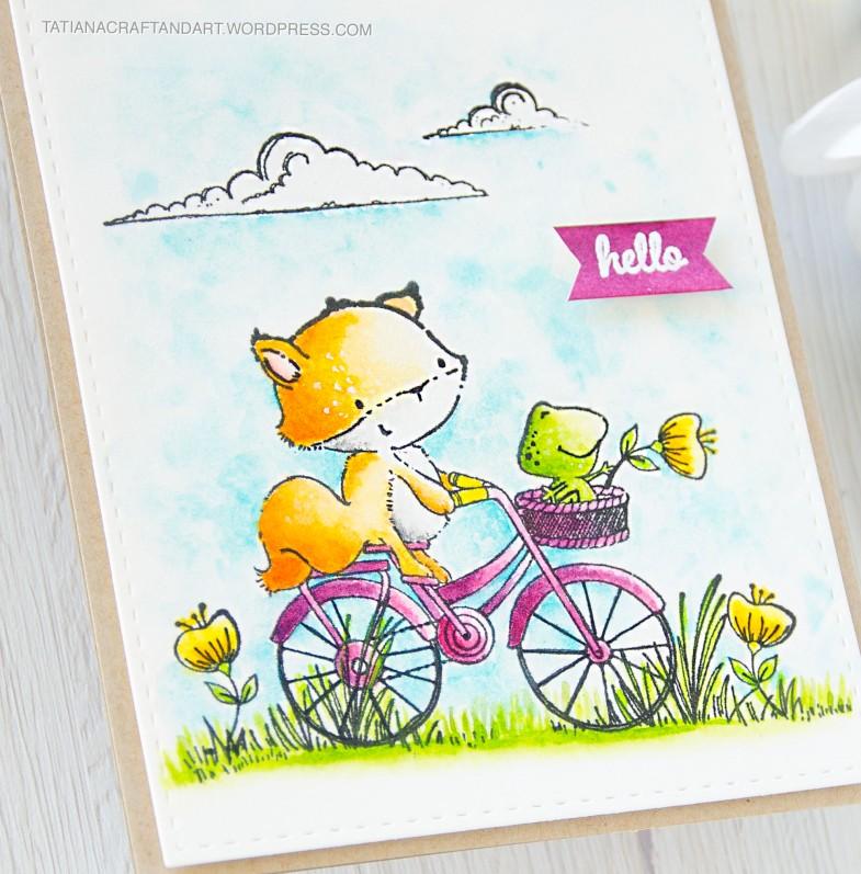 Hello #handmade card by Tatiana Trafimovich #tatianacraftandart - stamps by Purple Onion Designs #purpleoniondesigns