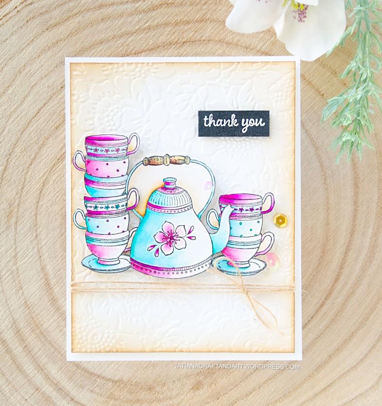 Thank You #handmade card by Tatiana Trafimovich #tatianacraftandart - stamps by Purple Onion Designs #purpleoniondesigns