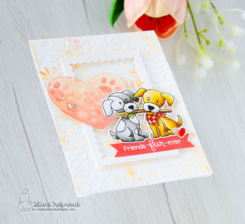 Friends Fur-ever #handmade card by Tatiana Trafimovich #tatianacraftandart - Puppy Pals stamp set by Newton's Nook Designs #newtonsnook