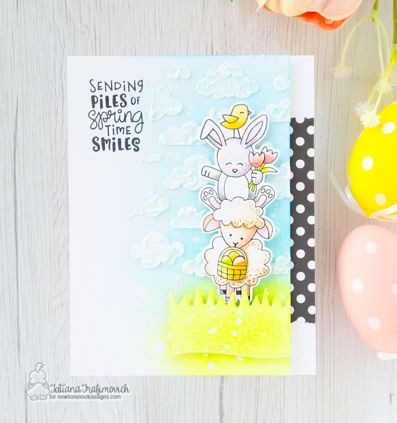 Spring Time Smiles #handmade card by Tatiana Trafimovich #tatianacraftandart - Spring Pile Up stamp set by Newton's Nook Designs #newtonsnook