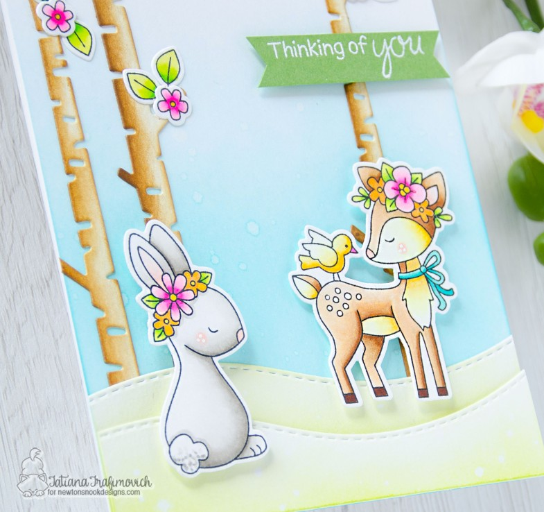 Thinking of You #handmade card by Tatiana Trafimovich #tatianacraftandart - Woodland Spring stamp set by Newton's Nook Designs #newtonsnook