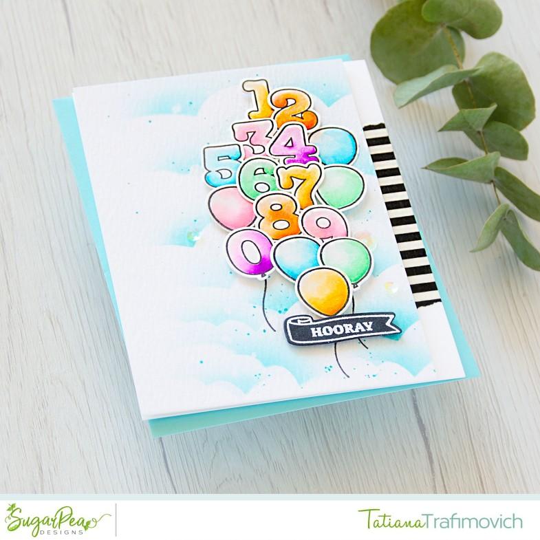 Hooray #handmade card by Tatiana Trafimovich #tatianacraftandart - Balloon Numbers stamp set by SugarPea Designs #sugarpeadesigns