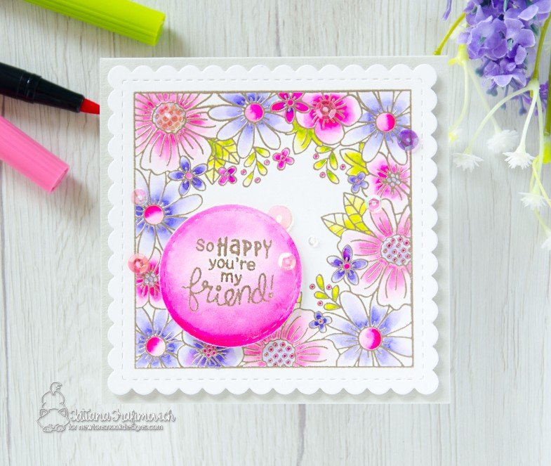 So Happy You're My Friend #handmade card by Tatiana Trafimovich #tatianacraftandart - Floral Fringe stamp set by Newton's Nook Designs #newtonsnook