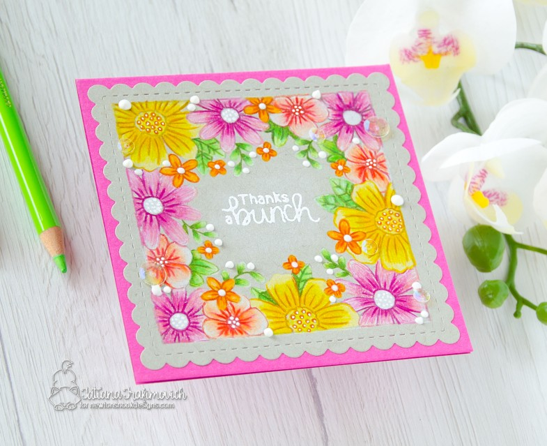 Thanks A Bunch #handmade card by Tatiana Trafimovich #tatianacraftandart - Floral Fringe stamp set by Newton's Nook Designs #newtonsnook