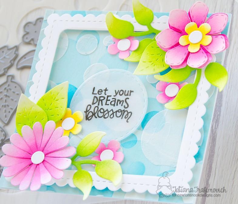 Let Your Dream Blossom #handmade card by Tatiana Trafimovich #tatianacraftandart - Flower Trio die set by Newton's Nook Designs #newtonsnook
