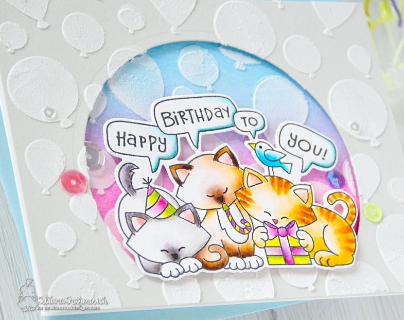 Happy Birthday #handmade card by Tatiana Trafimovich #tatianacraftandart - Newton's Birthday Trio stamp set by Newton's Nook Designs #newtonsnook
