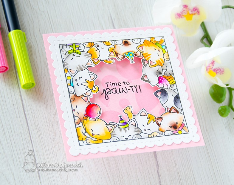 Time To Paw-ty! #handmade card by Tatiana Trafimovich #tatianacraftandart - Newton's Block Party stamp set by Newton's Nook Designs #newtonsnook