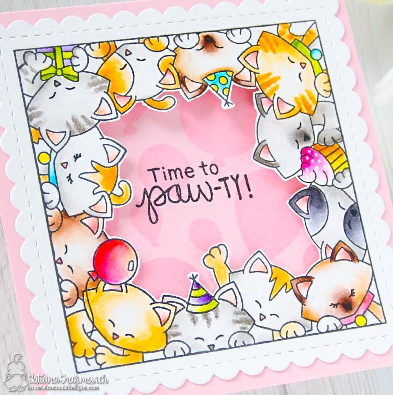 Time To Paw-ty! #handmade card by Tatiana Trafimovich #tatianacraftandart - Newton's Block Party stamp set by Newton's Nook Designs #newtonsnook