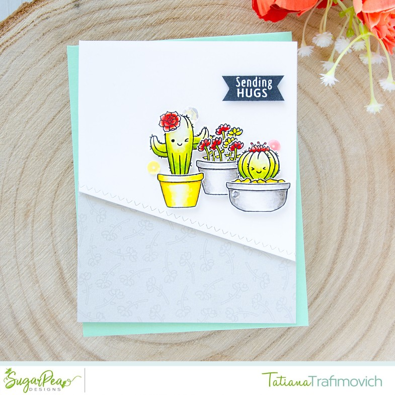 Sending Hugs #handmade card by Tatiana Trafimovich #tatianacraftandart - Cuddly Cacti stamp set by SugarPea Designs #sugarpeadesigns