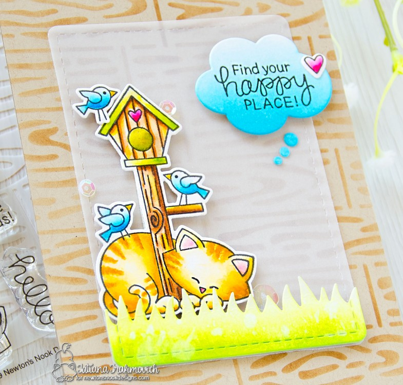 Find Your Happy Place #handmade card by Tatiana Trafimovich #tatianacraftandart - Newton's Birdhouse stamp set by Newton's Nook Designs #newtonsnook