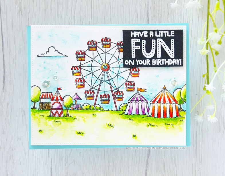 Have A Little Fun On Your Birthday #handmade card by Tatiana Trafimovich #tatianacraftandart - Carnival Background stamp by Purple Onion Designs #purpleoniondesigns
