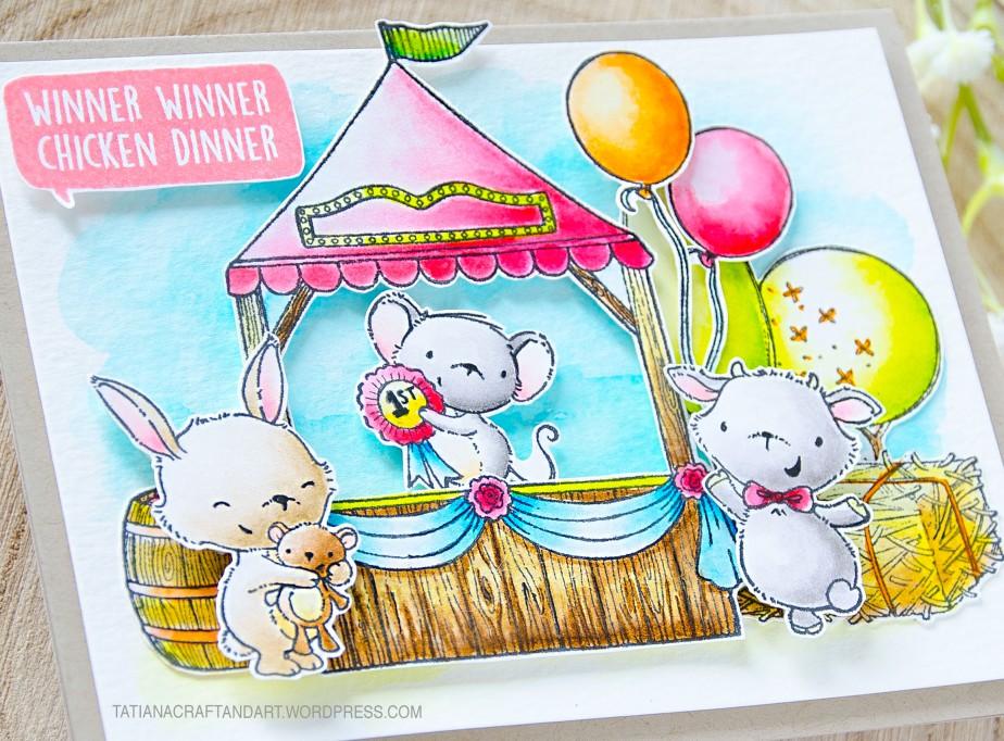 Winner, Winner #handmade card by Tatiana Trafimovich #tatianacraftandart - Carnival Booth stamp by Purple Onion Designs #purpleoniondesigns