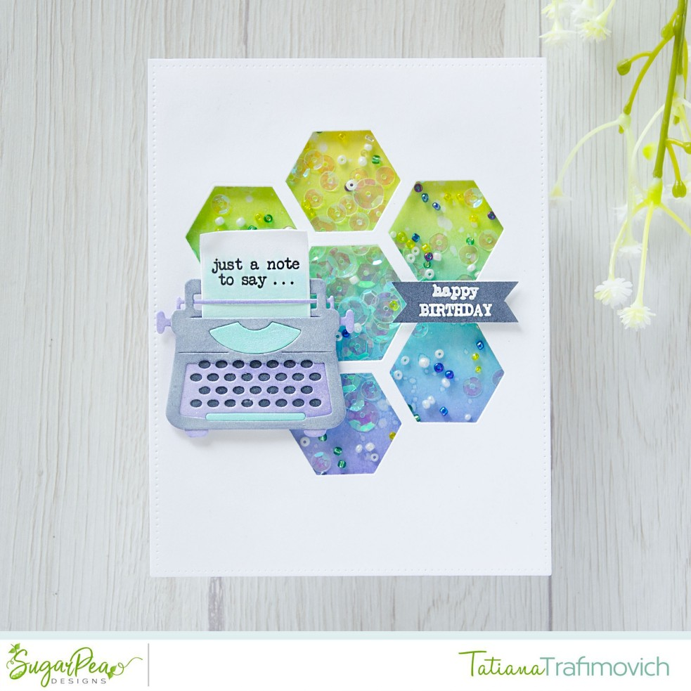 Just A Note To Say... #handmade card by Tatiana Trafimovich #tatianacraftandart - You're My Type stamp set by SugarPea Designs #sugarpeadesigns