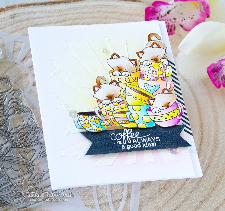 Coffee Is Always A Good Idea #handmade card by Tatiana Trafimovich #tatianacraftandart - Caffeinated Cats stamp set by Newton's Nook Designs #newtonsnook