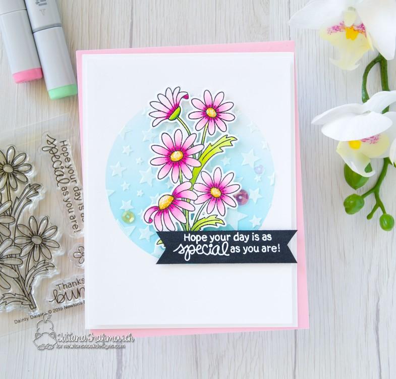 Special Day #handmade card by Tatiana Trafimovich #tatianacraftandart - Dainty Daisies stamp set by Newton's Nook Designs #newtonsnook