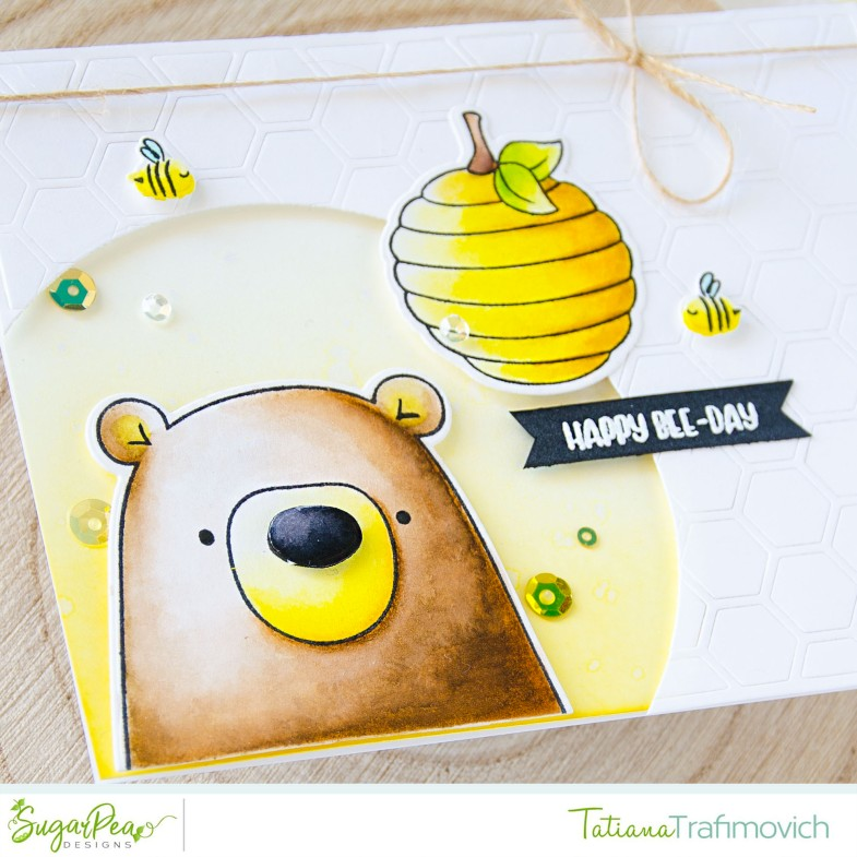 Happy Bee-Day #handmade card by Tatiana Trafimovich #tatianacraftandart - Hey Honey stamp set by SugarPea Designs #sugarpeadesigns