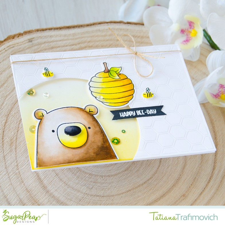 Happy Bee-Day #handmade card by Tatiana Trafimovich #tatianacraftandart - Hey Honey stamp set by SugarPea Designs #sugarpeadesigns