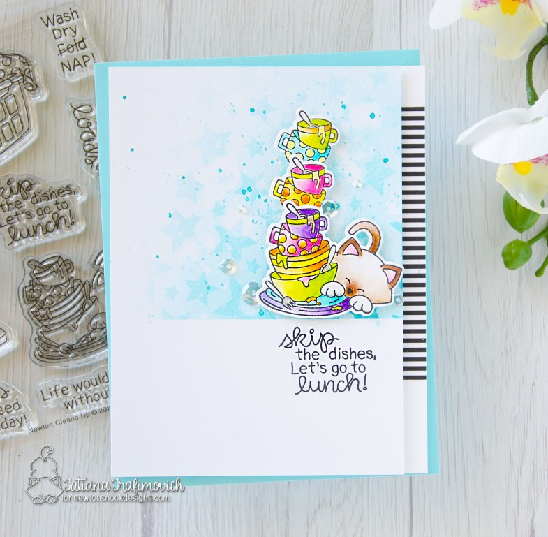 Skip The Dishes #handmade card by Tatiana Trafimovich #tatianacraftandart - Newton Cleans Up stamp set by Newton's Nook Designs #newtonsnook