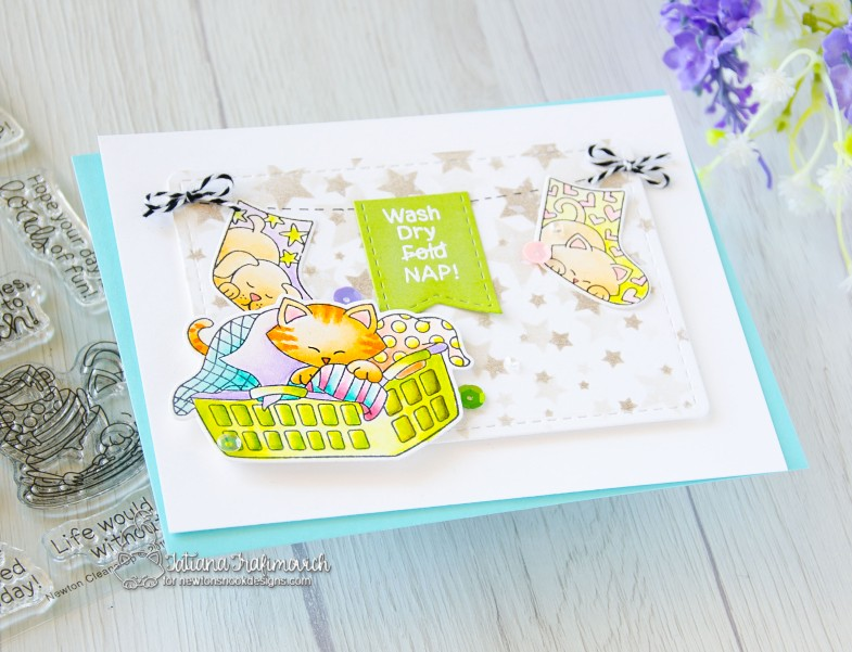 Wash, Dry, Nap #handmade card by Tatiana Trafimovich #tatianacraftandart - Newton Cleans Up stamp set by Newton's Nook Designs #newtonsnook