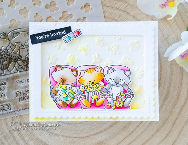 You're Invited #handmade card by Tatiana Trafimovich #tatianacraftandart - Newton's Movie Night stamp set by Newton's Nook Designs #newtonsnook