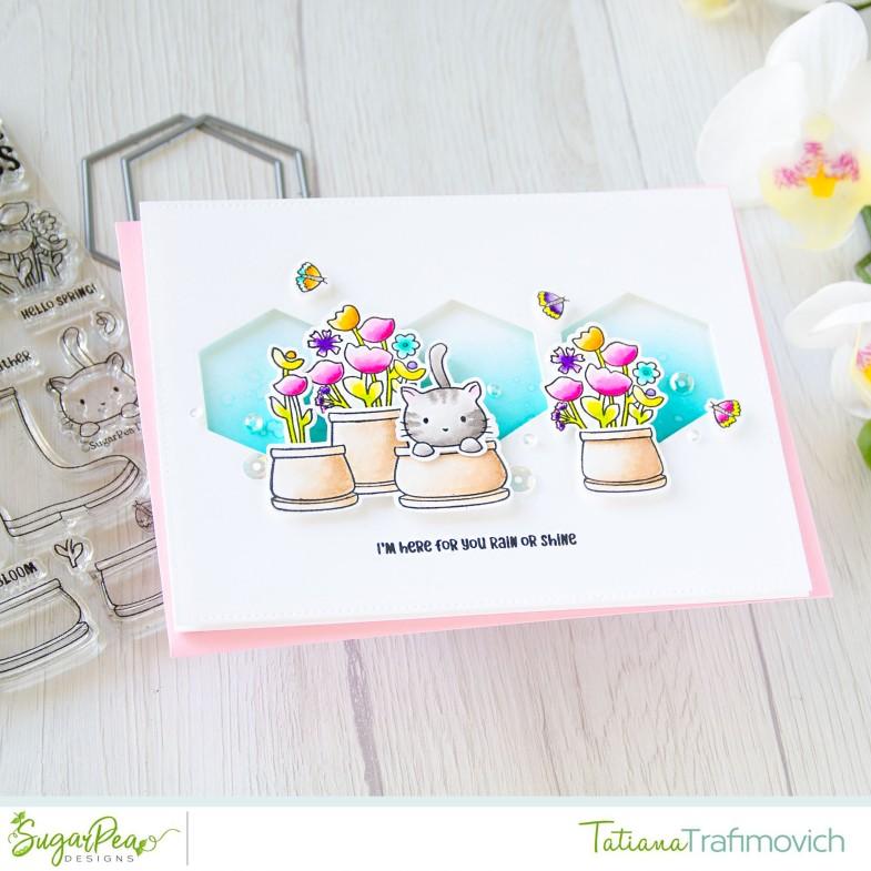 I'm Here For You Rain Or Shine #handmade card by Tatiana Trafimovich #tatianacraftandart - Sprout Bloom Glow stamp set by SugarPea Designs #sugarpeadesigns