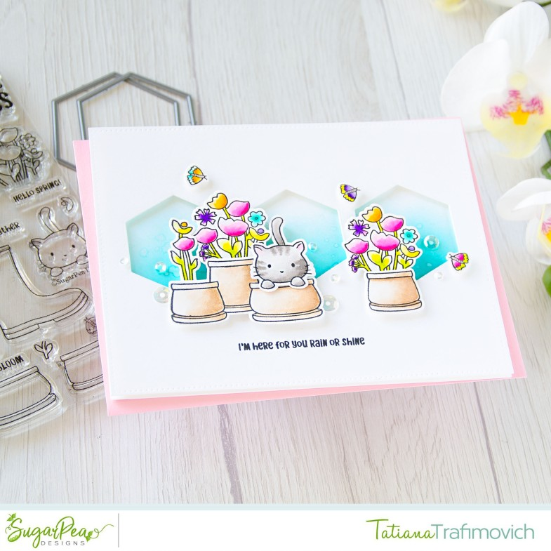 I'm Here For You Rain Or Shine #handmade card by Tatiana Trafimovich #tatianacraftandart - Sprout Bloom Glow stamp set by SugarPea Designs #sugarpeadesigns