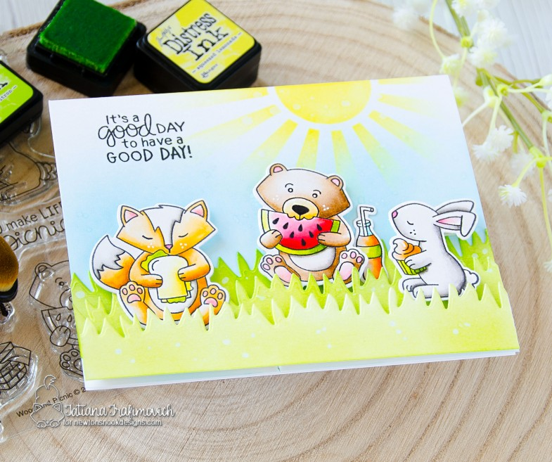 It's A Good Day To Have A Good Day #handmade card by Tatiana Trafimovich #tatianacraftandart - Woodland Picnic stamp set by Newton's Nook Designs #newtonsnook