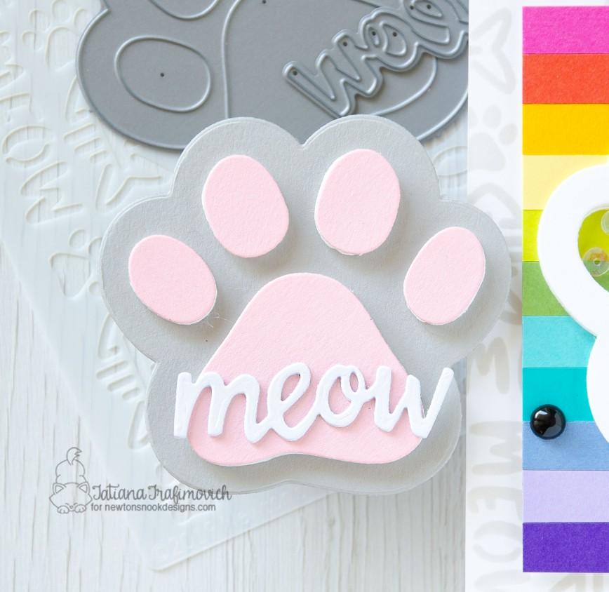 Meow #handmade tag by Tatiana Trafimovich #tatianacraftandart - Pawprint die set by Newton's Nook Designs #newtonsnook