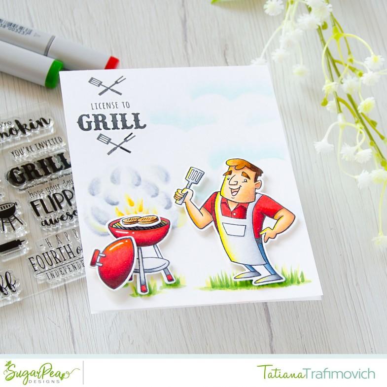 License To Grill #handmade card by Tatiana Trafimovich #tatianacraftandart - Grill Master stamp set by SugarPea Designs #sugarpeadesigns