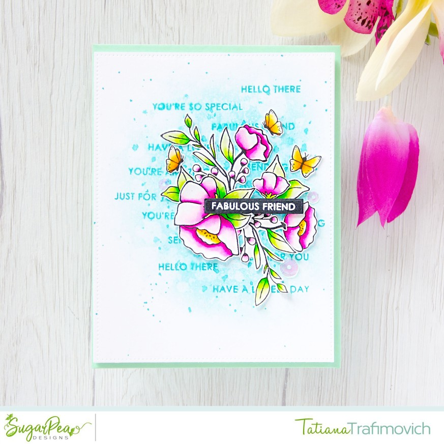 Fabulous Friend #handmade card by Tatiana Trafimovich #tatianacraftandart - Meadow Motifs stamp set by SugarPea Designs #sugarpeadesigns