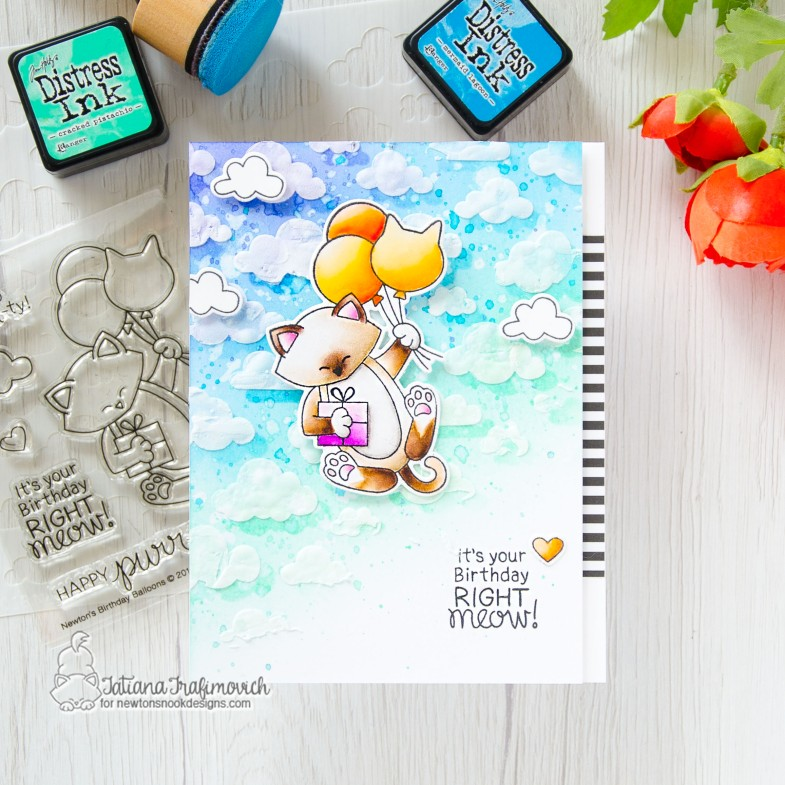It's Your Birthday Right Meow #handmade card by Tatiana Trafimovich #tatianacraftandart - Newton's Birthday Balloons stamp set by Newton's Nook Designs #newtonsnook