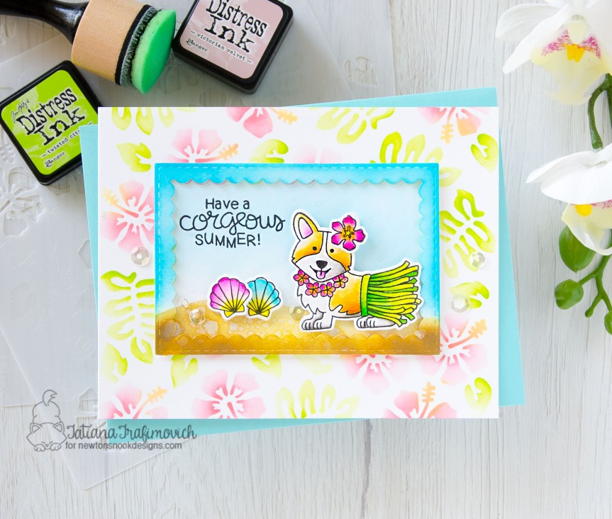 Have A Corgeous Summer #handmade card by Tatiana Trafimovich #tatianacraftandart - Corgi Beach stamp set by Newton's Nook Designs #newtonsnook