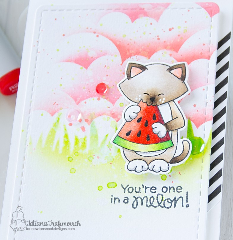 You're One In A Melon! #handmade card by Tatiana Trafimovich #tatianacraftandart - Newton's Melon stamp set by Newton's Nook Designs #newtonsnook