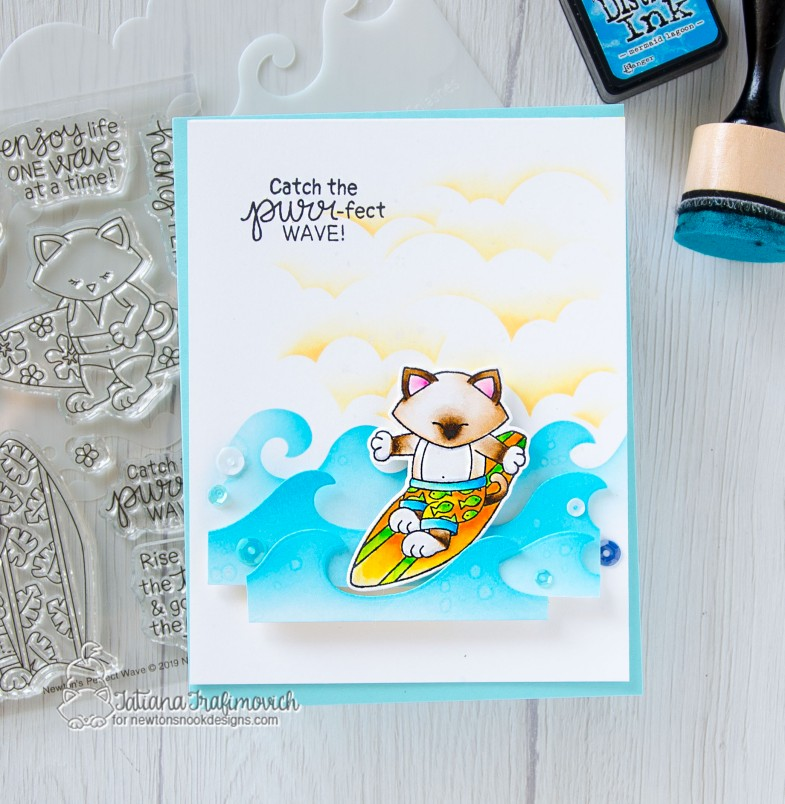 Catch The Purr-fect Wave #handmade card by Tatiana Trafimovich #tatianacraftandart - Newton's Perfect Wave stamp set by Newton's Nook Designs #newtonsnook