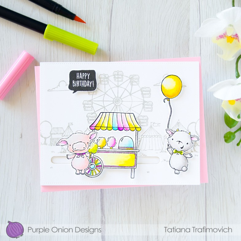 Happy Birthday #handmade card by Tatiana Trafimovich #tatianacraftandart - stamps by Purple Onion Designs #purpleoniondesigns