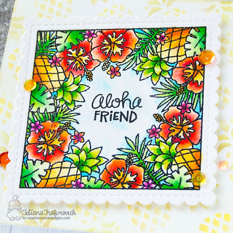 Aloha Friend #handmade card by Tatiana Trafimovich #tatianacraftandart - Tropical Fringe stamp set by Newton's Nook Designs #newtonsnook