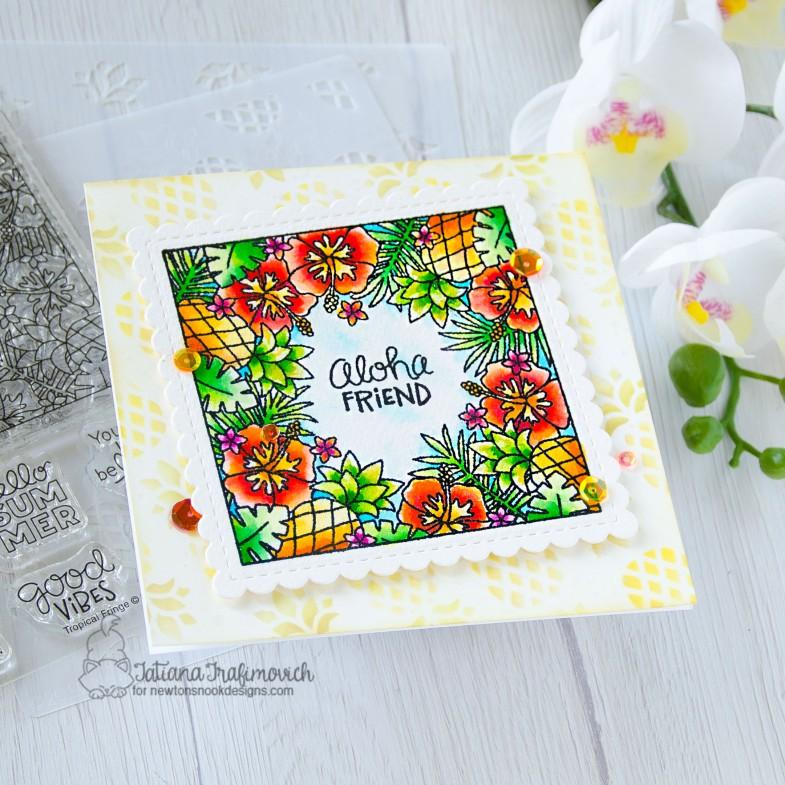 Aloha Friend #handmade card by Tatiana Trafimovich #tatianacraftandart - Tropical Fringe stamp set by Newton's Nook Designs #newtonsnook